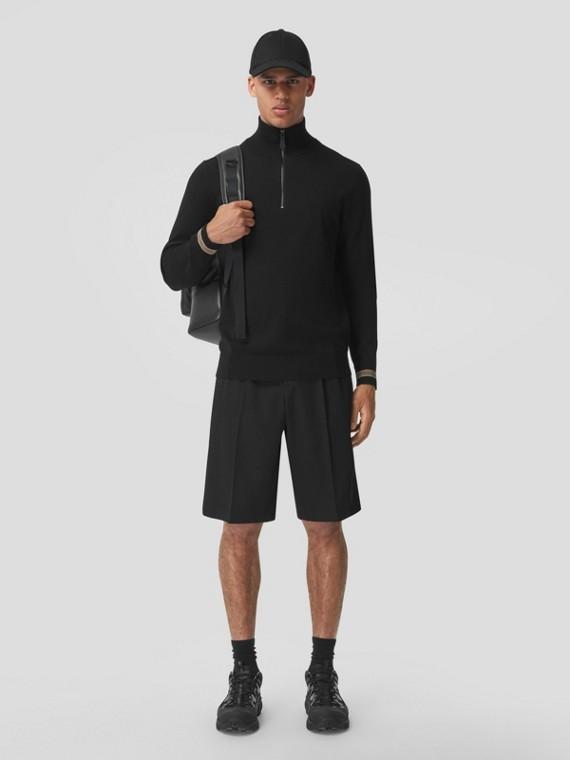 Icon Stripe Cuff Funnel Neck Sweater in Black
