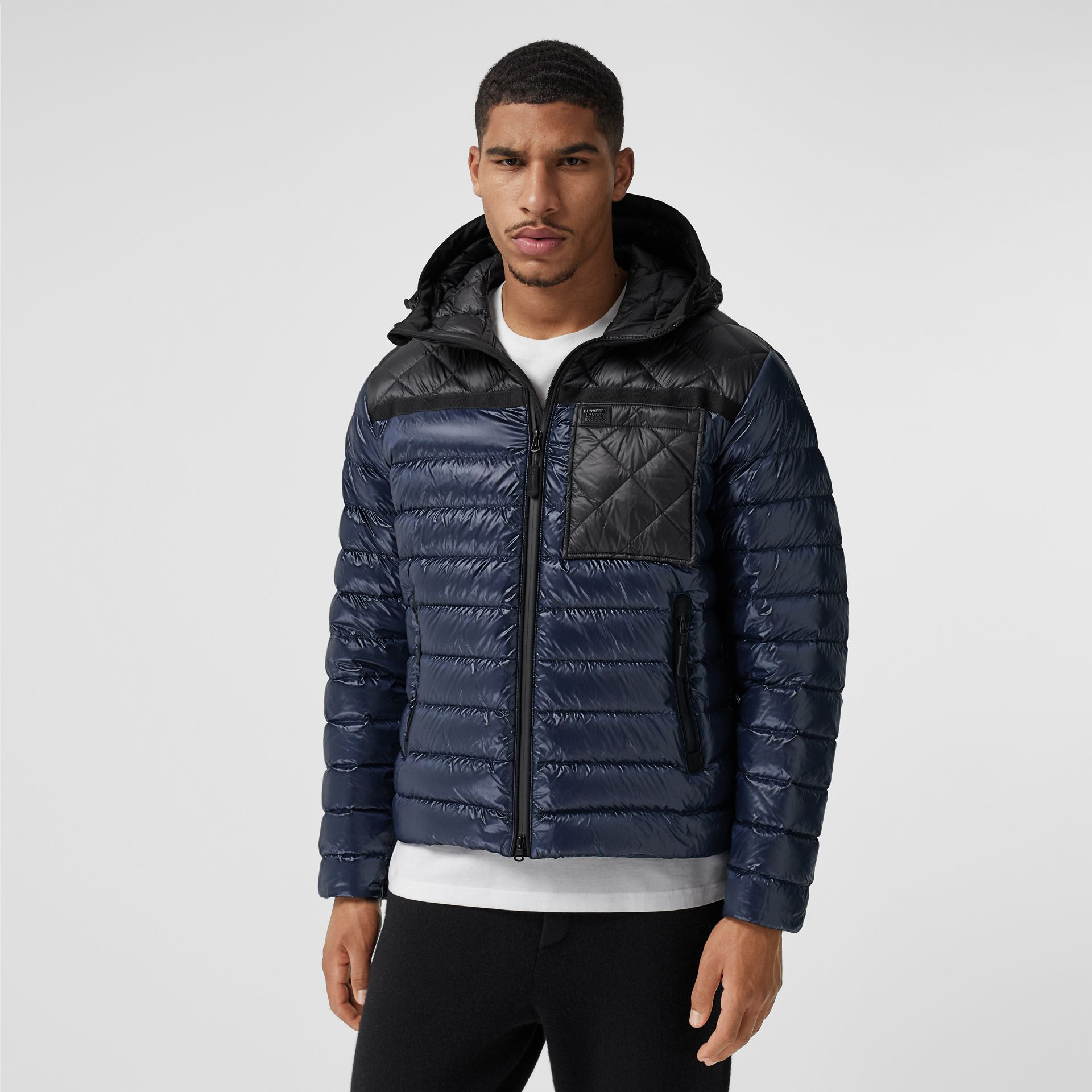 Diamond Quilted Panel Hooded Puffer Jacket in Midnight - Men | Burberry - gallery image 4