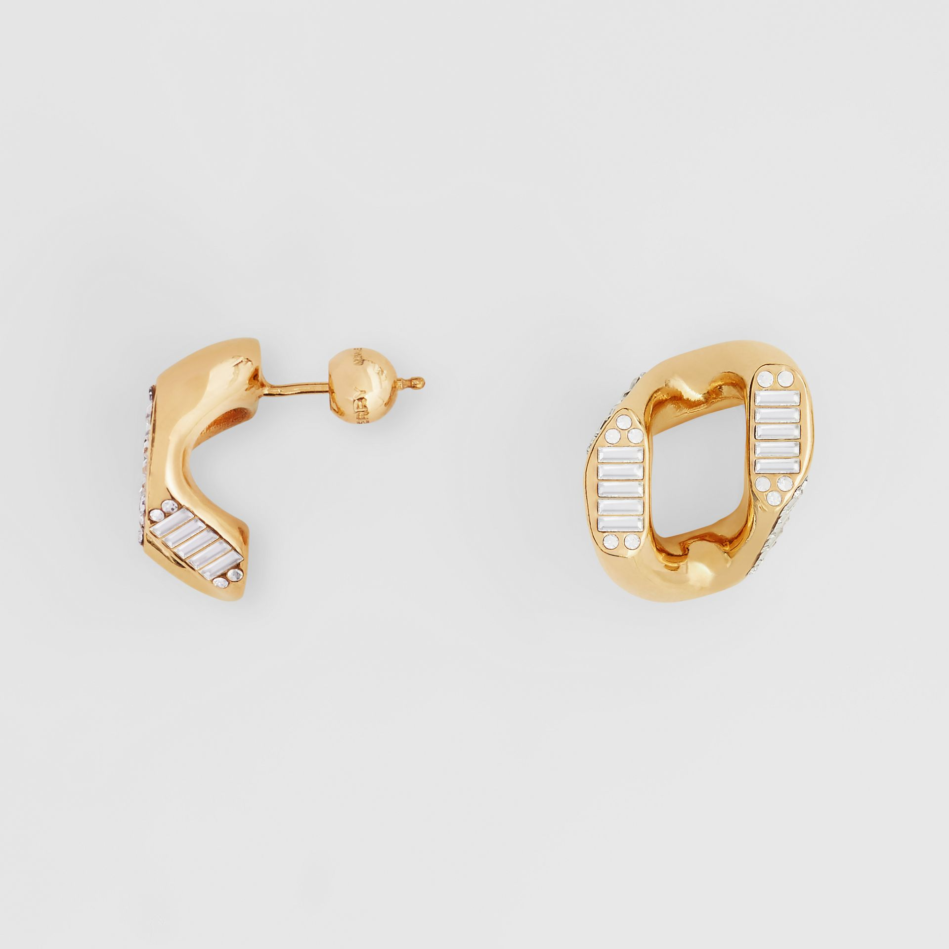 Crystal Gold-plated Chain-link Earrings – Online Exclusive - Women | Burberry Singapore - gallery image 1