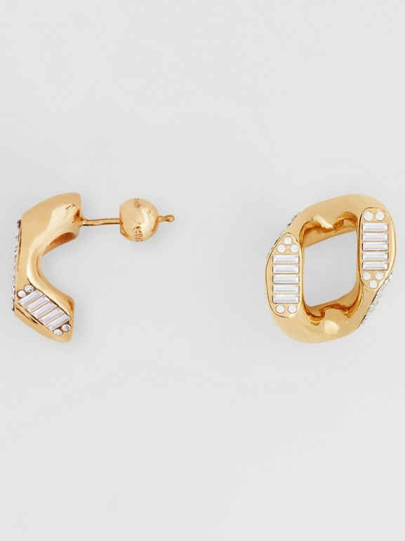 Crystal Gold-plated Chain-link Earrings – Online Exclusive - Women | Burberry Singapore - cell image 1