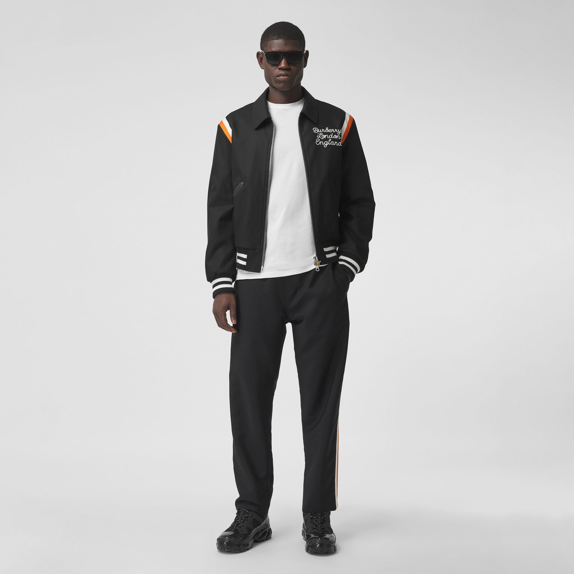 Embroidered Logo Cotton Gabardine Bomber Jacket in Black - Men | Burberry - gallery image 0
