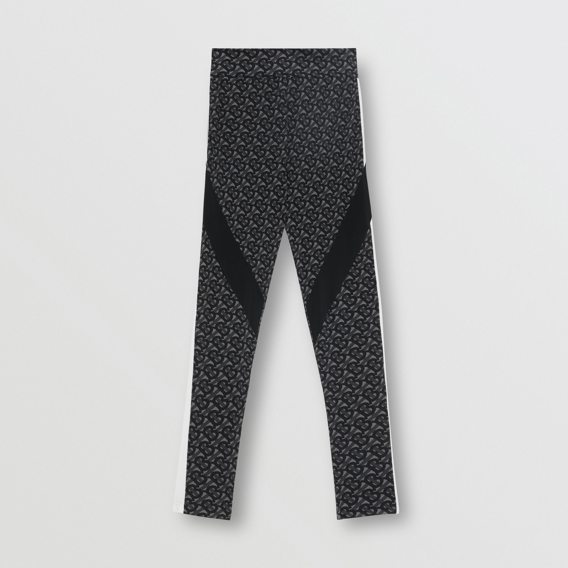 Colour Block Monogram Print Stretch Jersey Leggings in Graphite - Women | Burberry - gallery image 3