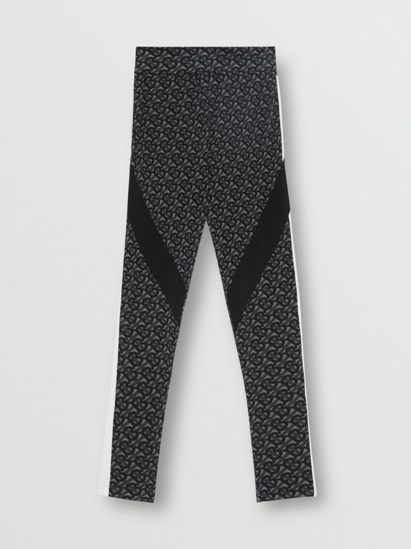 Colour Block Monogram Print Stretch Jersey Leggings in Graphite - Women | Burberry - cell image 3