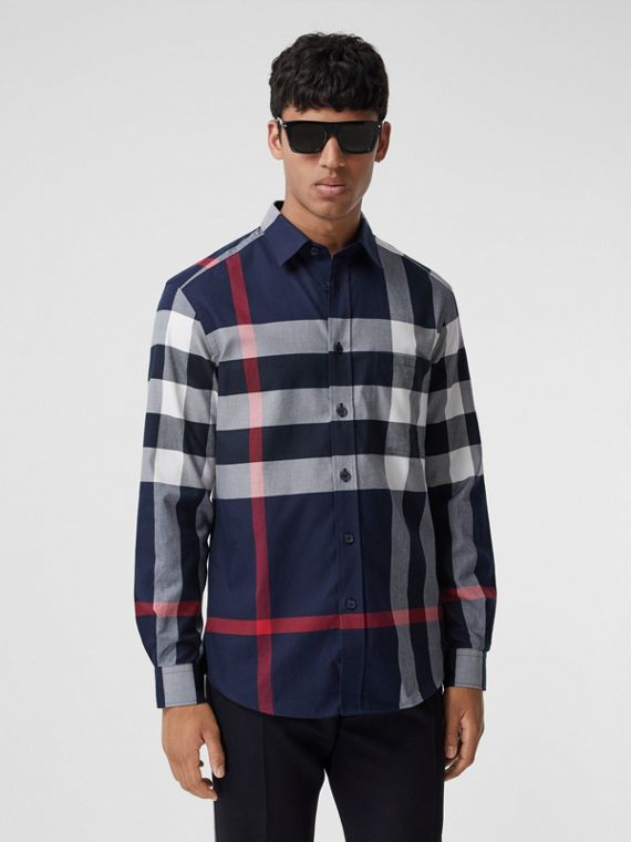 Check Cotton Flannel Shirt in Navy