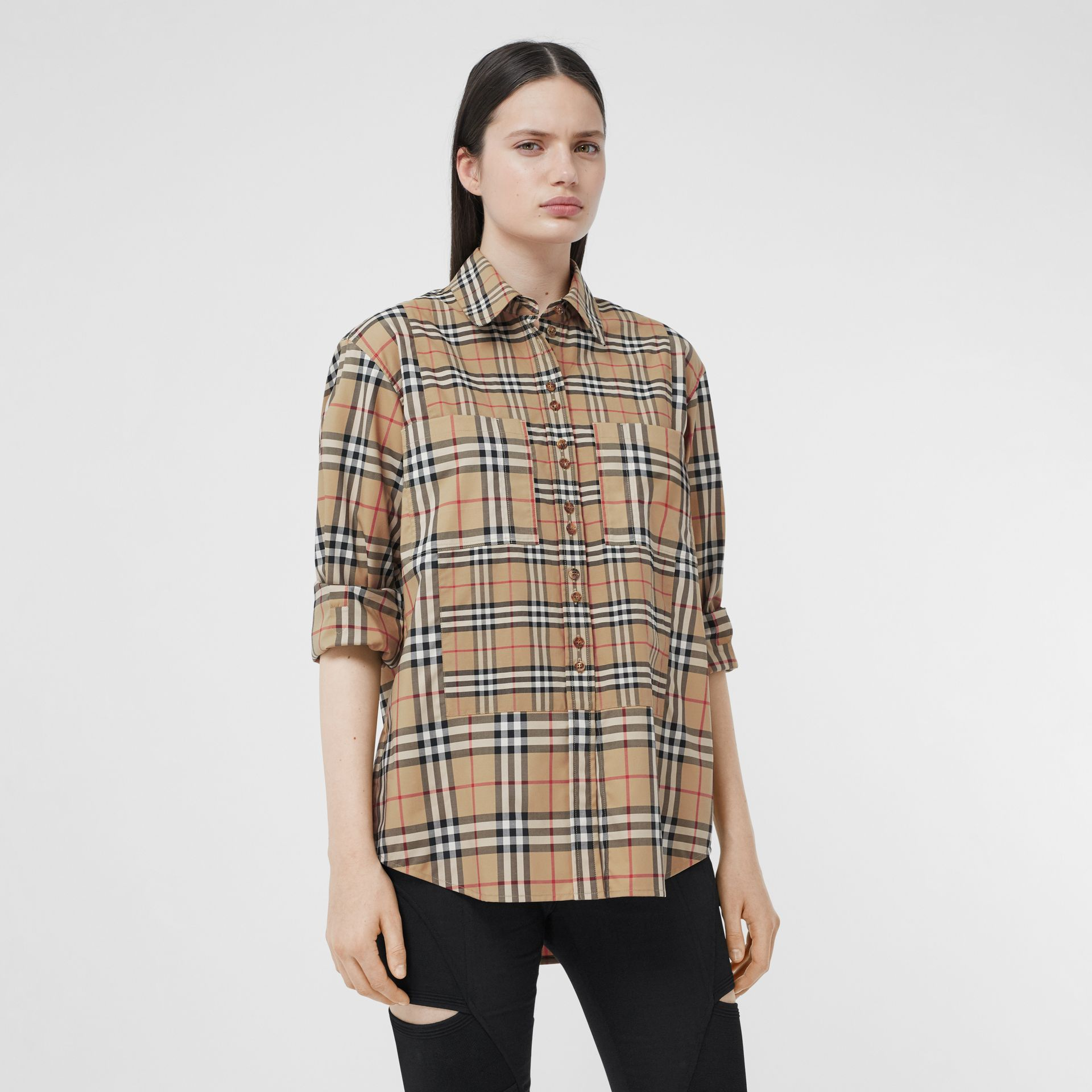 Contrast Check Stretch Cotton Shirt in Archive Beige - Women | Burberry - gallery image 3