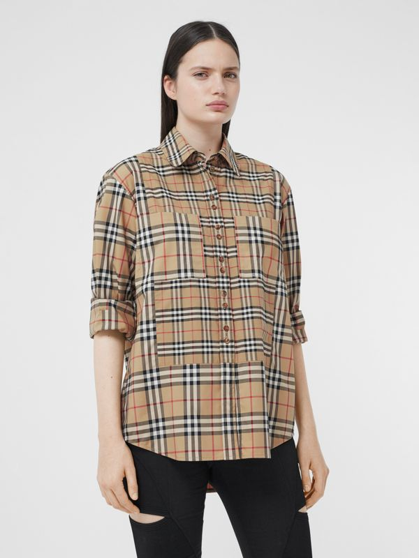 Contrast Check Stretch Cotton Shirt in Archive Beige - Women | Burberry - cell image 3