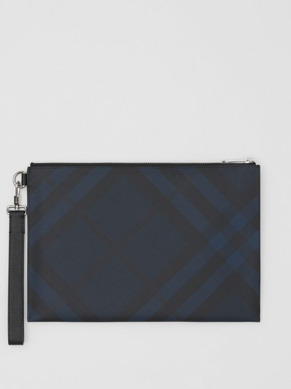 London Check and Leather Zip Pouch in Navy