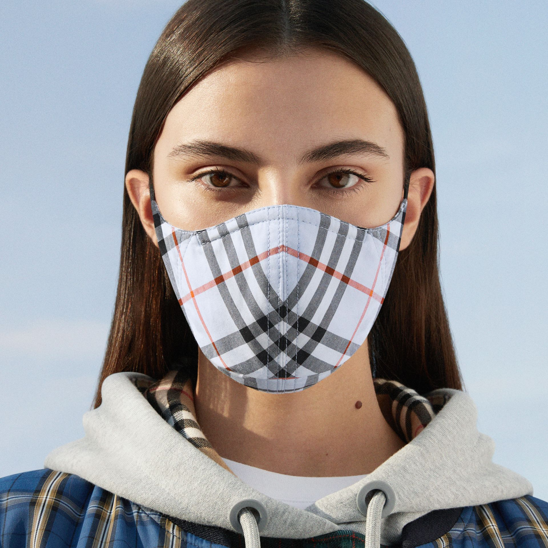 Vintage Check Cotton Face Mask in Pale Blue | Burberry - gallery image 7