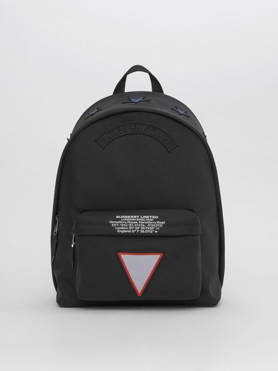 Badge Appliqué Nylon Backpack in Black