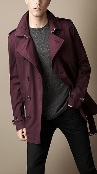 Short Cotton Twill Trench Coat