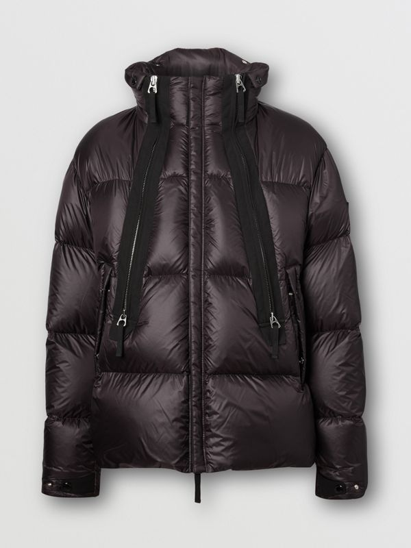 Packaway Hood Zip Detail Puffer Jacket in Deep Brown - Men | Burberry - cell image 3