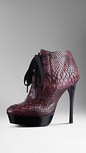 Python Leather Platform Boots