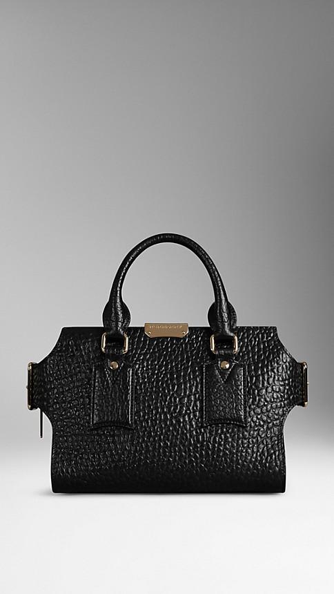Black Small Signature Grain Leather Tote - Image 1