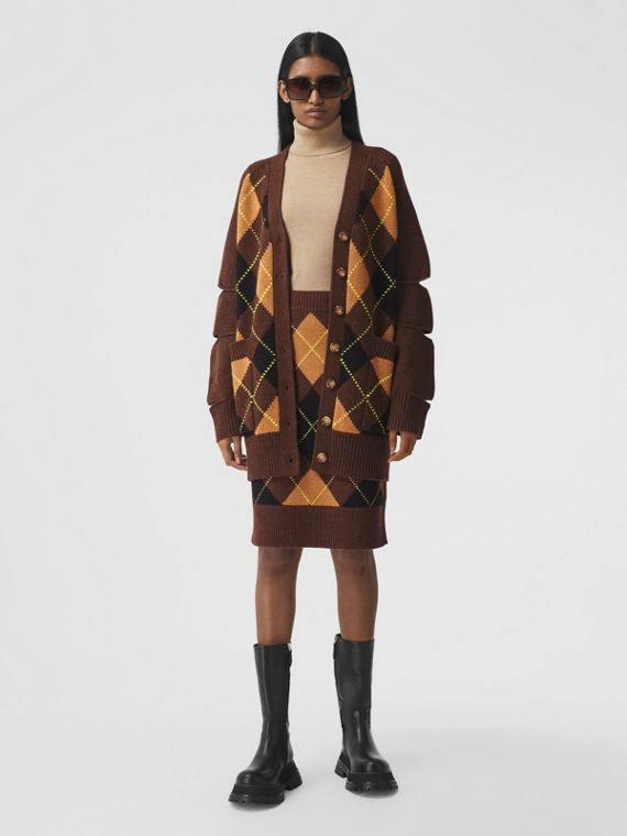 Cut-out Detail Argyle Intarsia Wool Cashmere Cardigan in Dark Khaki