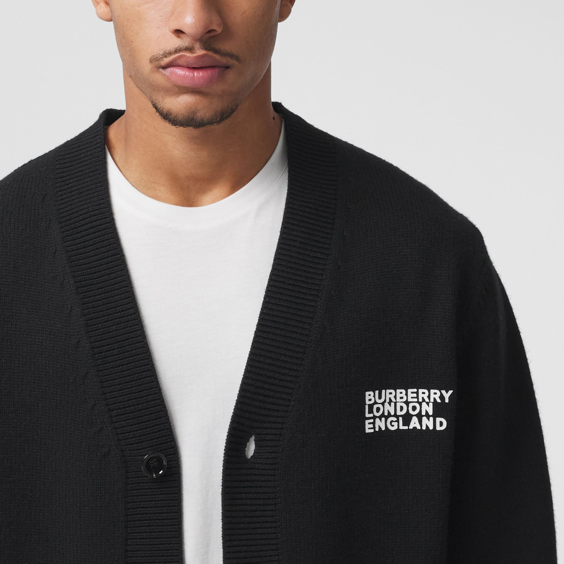Love Motif Merino Wool Oversized Cardigan in Black - Men | Burberry - gallery image 1