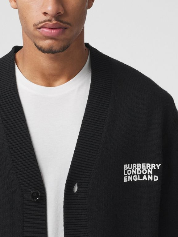 Love Motif Merino Wool Oversized Cardigan in Black - Men | Burberry - cell image 1