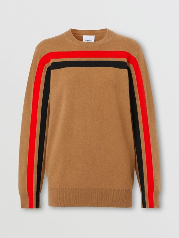 Stripe Detail Technical Cashmere Sweater in Beige