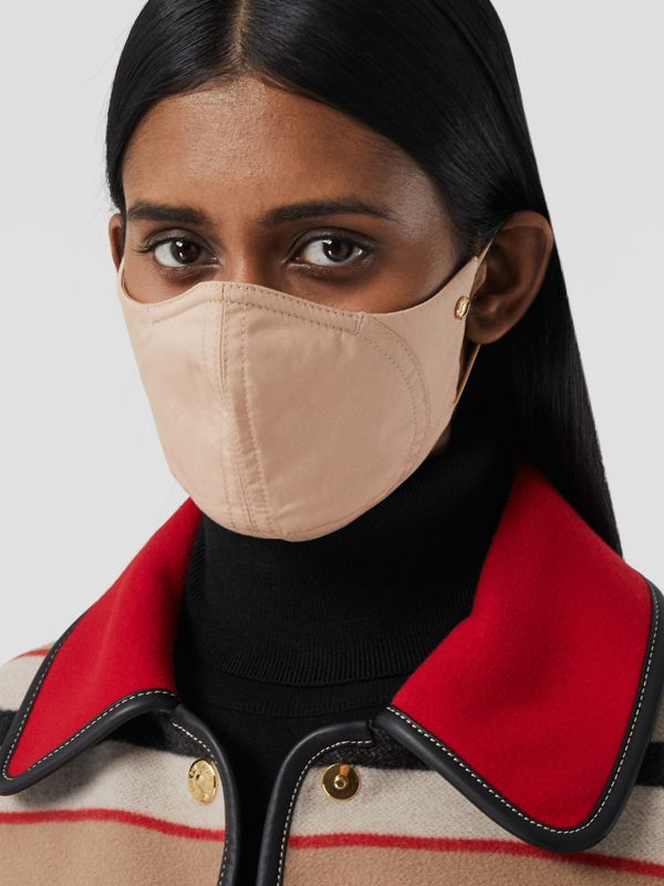 Logo Detail Cotton Face Mask in Soft Fawn | Burberry United States - cell image 2
