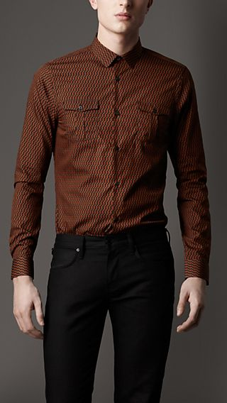 Slim Fit Geometric Print Military Shirt