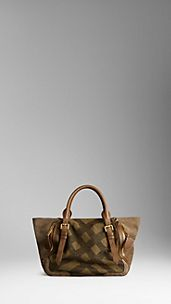 Medium Hunting Check Jacquard Tote Bag