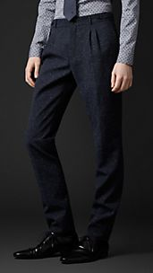 Slim Fit Tweed Pleat Front Trousers