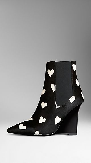Heart Print Wedge Chelsea Boots