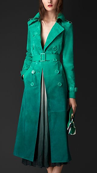 Dégradé Suede Trench Coat with Patent Trim