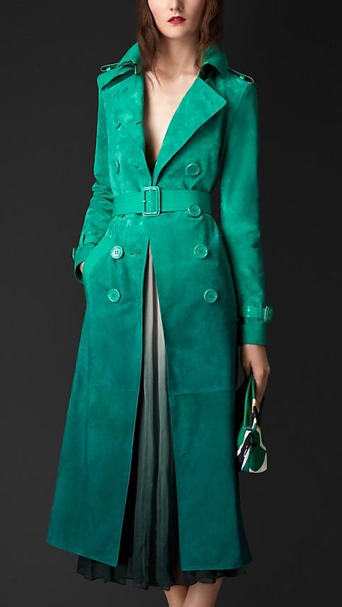 Verde peacock intenso Trench coat em camurça dégradé com acabamento envernizado - Imagem 1