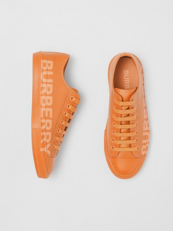 Logo Print Leather Sneakers – Online Exclusive in Deep Orange