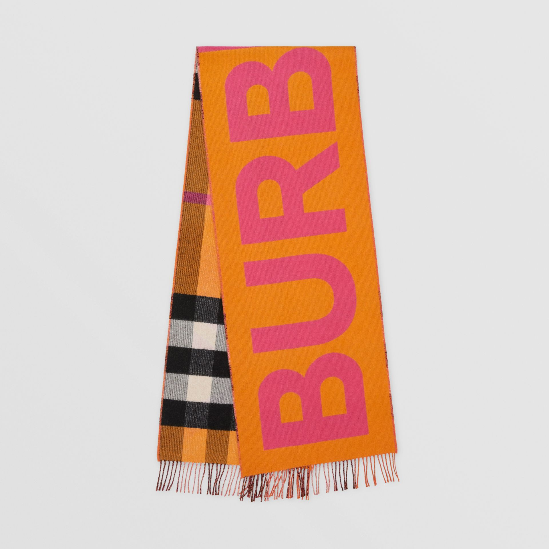 Reversible Check and Logo Cashmere Scarf in Orange | Burberry - gallery image 0