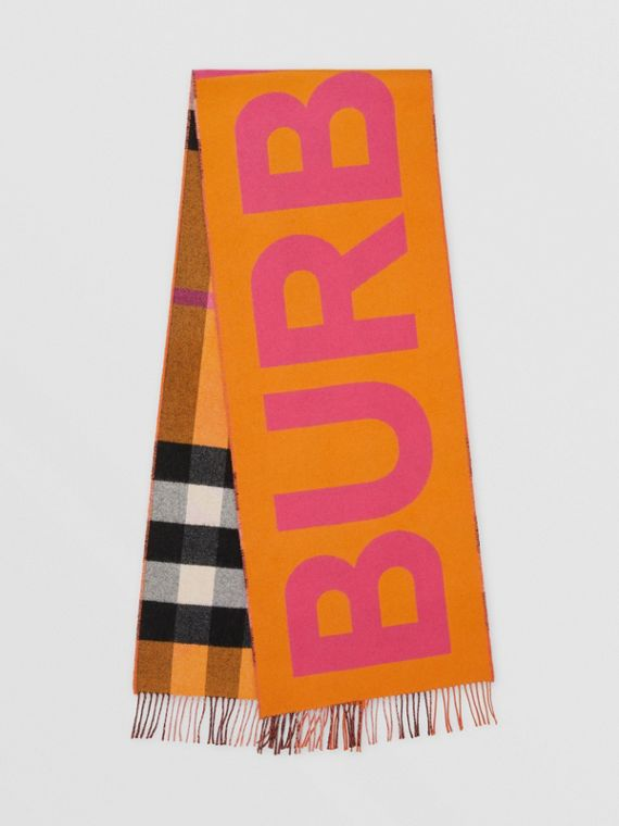 Reversible Check and Logo Cashmere Scarf in Orange
