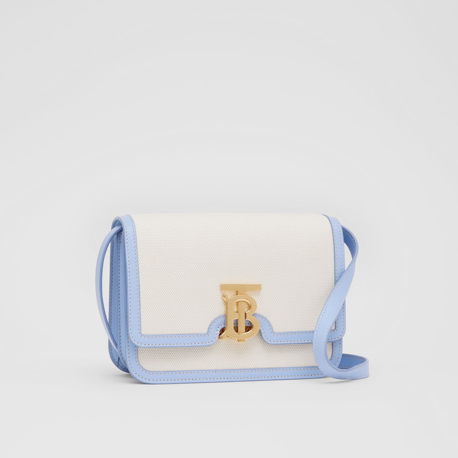 Small Two-tone Canvas and Leather TB Bag in Natural/pale Blue | Burberry United States - gallery image 6