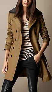 Mid-Length Detachable Shearling Collar Trench Coat