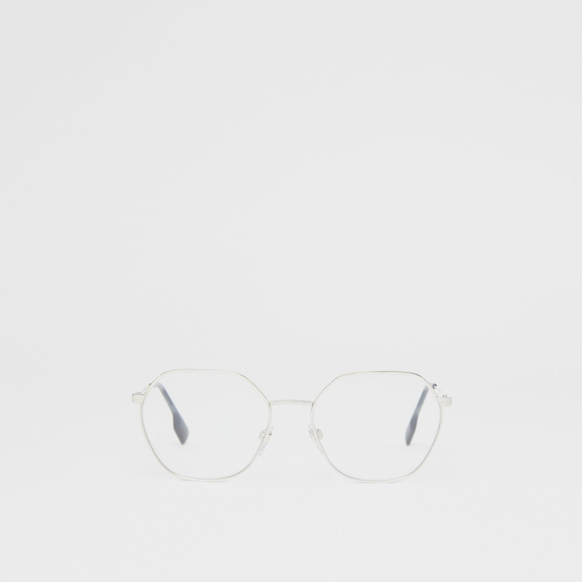 Geometric Optical Frames in Grey Tortoiseshell - Women | Burberry - gallery image 0