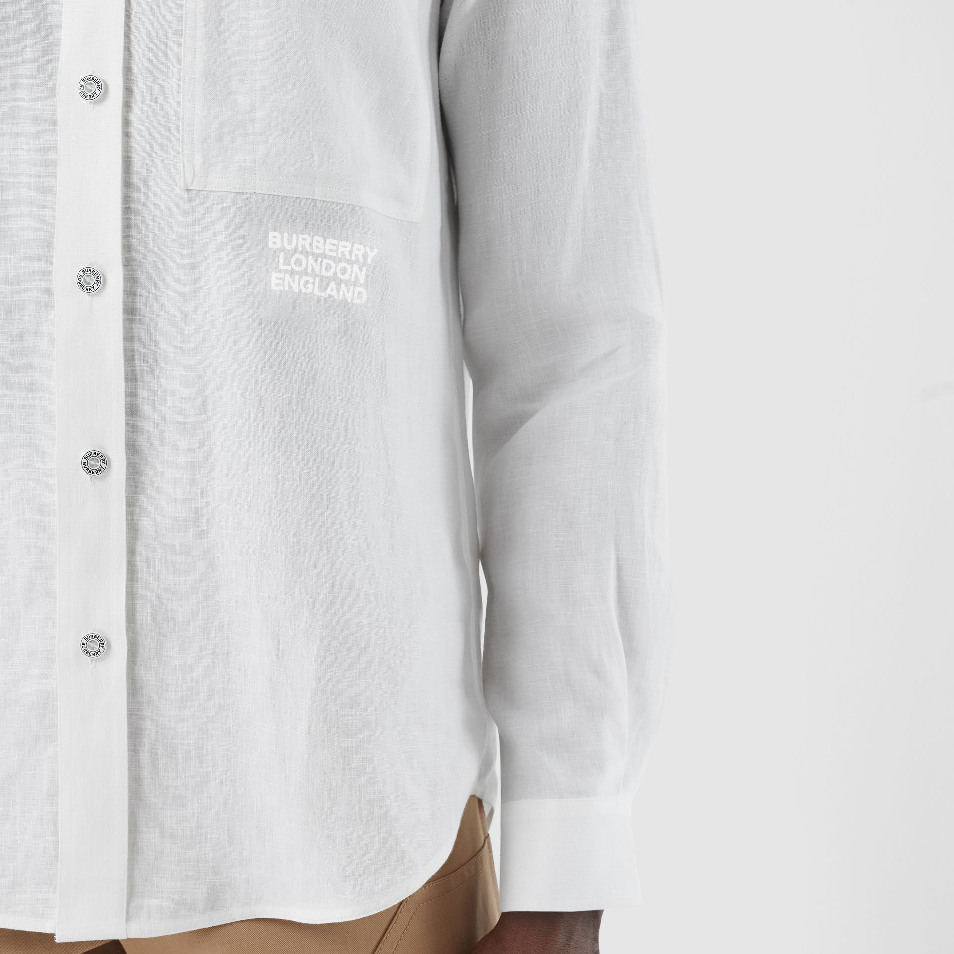 Embroidered Logo Linen Shirt in White | Burberry - gallery image 5