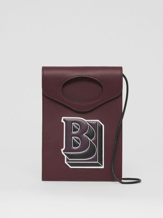 Letter Graphic Leather Pocket Phone Case in Deep Maroon