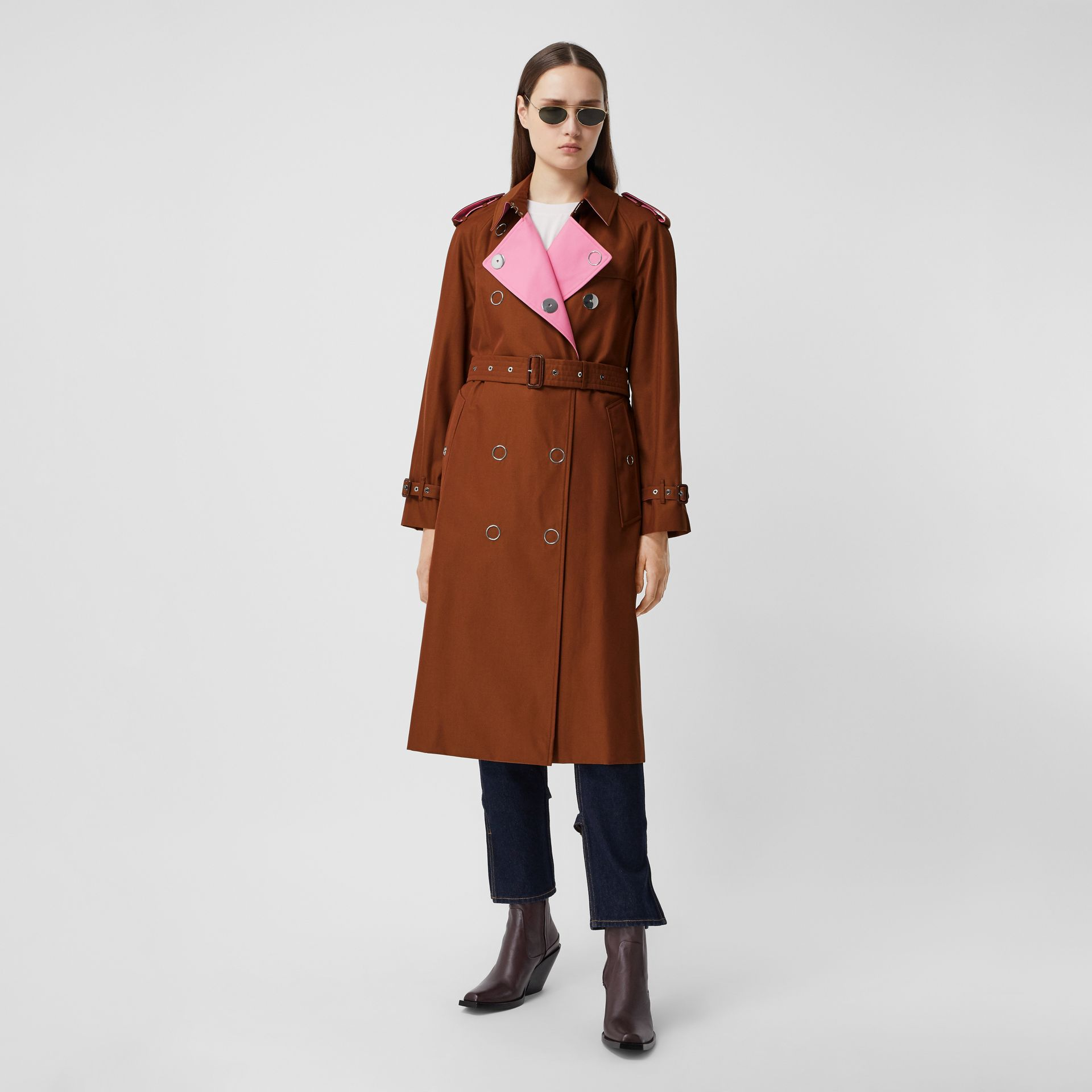 Colour Block Cotton Gabardine Trench Coat in Chestnut Brown - Women | Burberry - gallery image 0