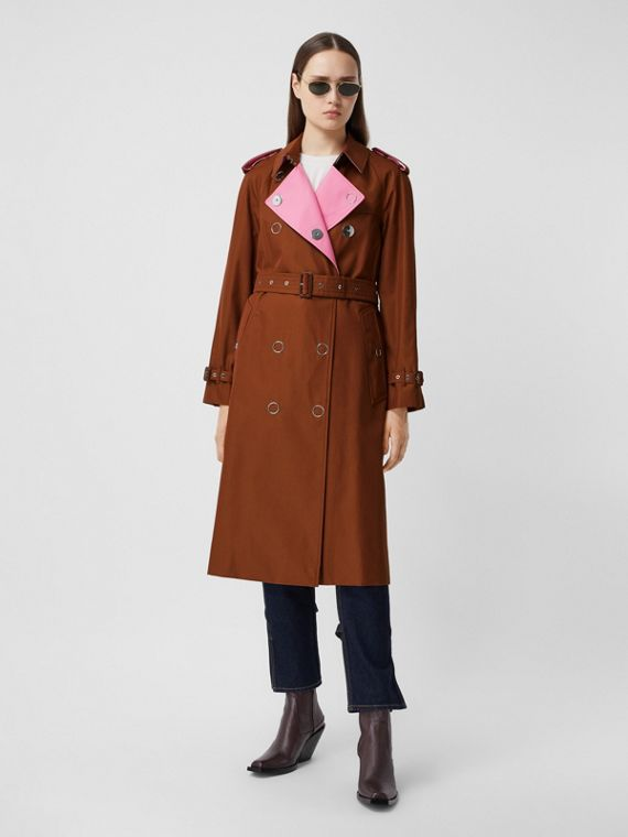 Colour Block Cotton Gabardine Trench Coat in Chestnut Brown
