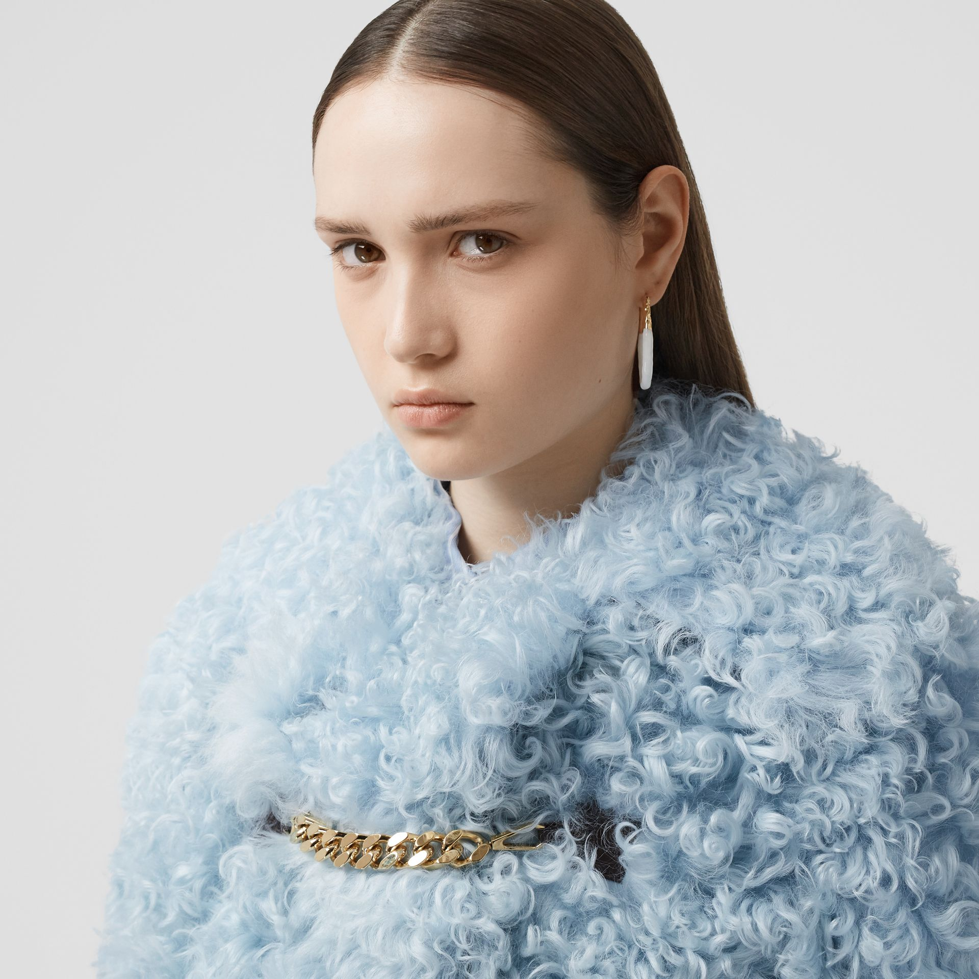 Chain Detail Shearling Jacket in Pale Blue - Women | Burberry United Kingdom - gallery image 6