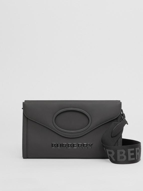 Logo Print Rubberised Cotton Foldover Pocket Bag in Black