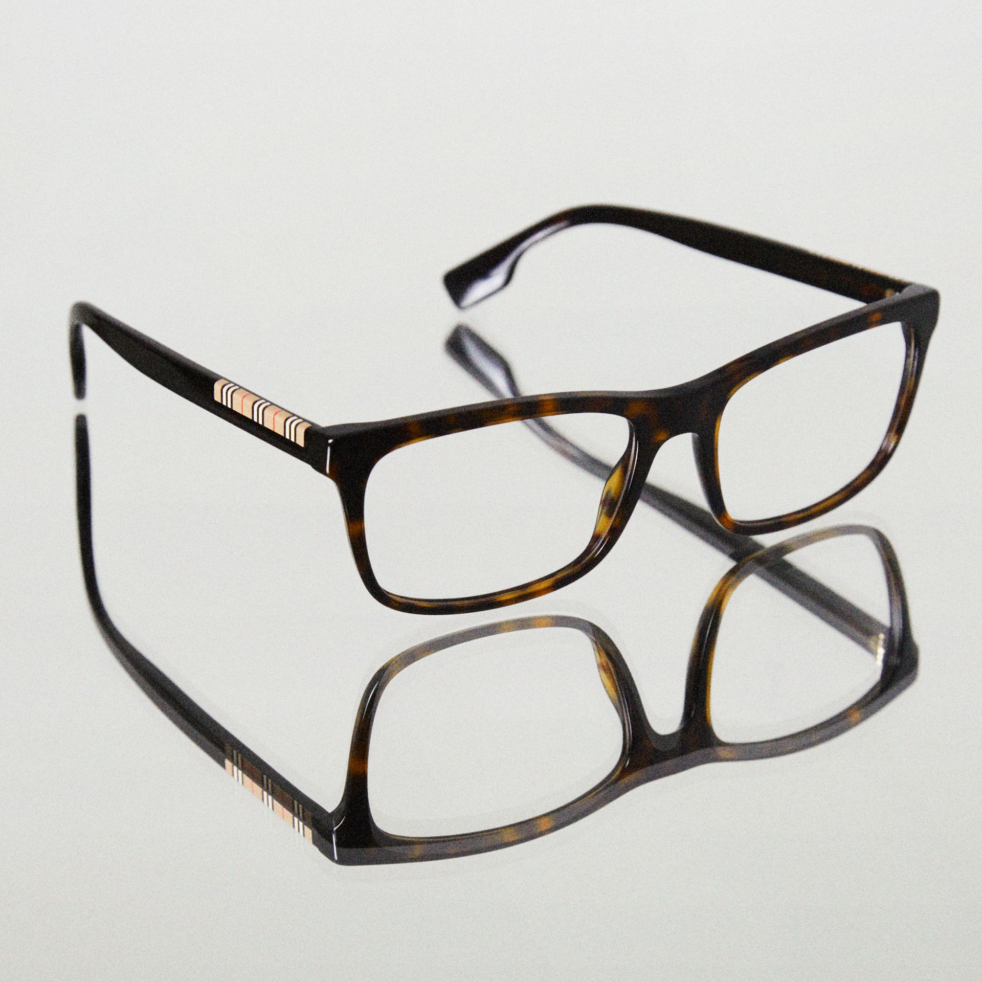 Icon Stripe Detail Rectangular Optical Frames in Tortoiseshell - Men | Burberry - gallery image 5