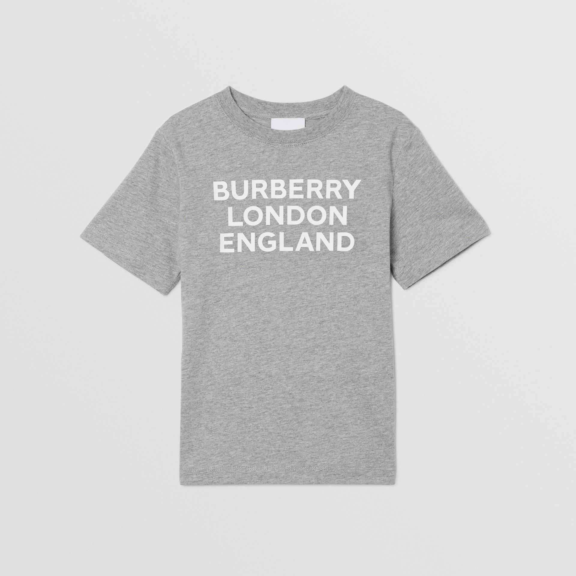 Logo Print Cotton T-shirt in Grey Melange   Burberry - gallery image 0