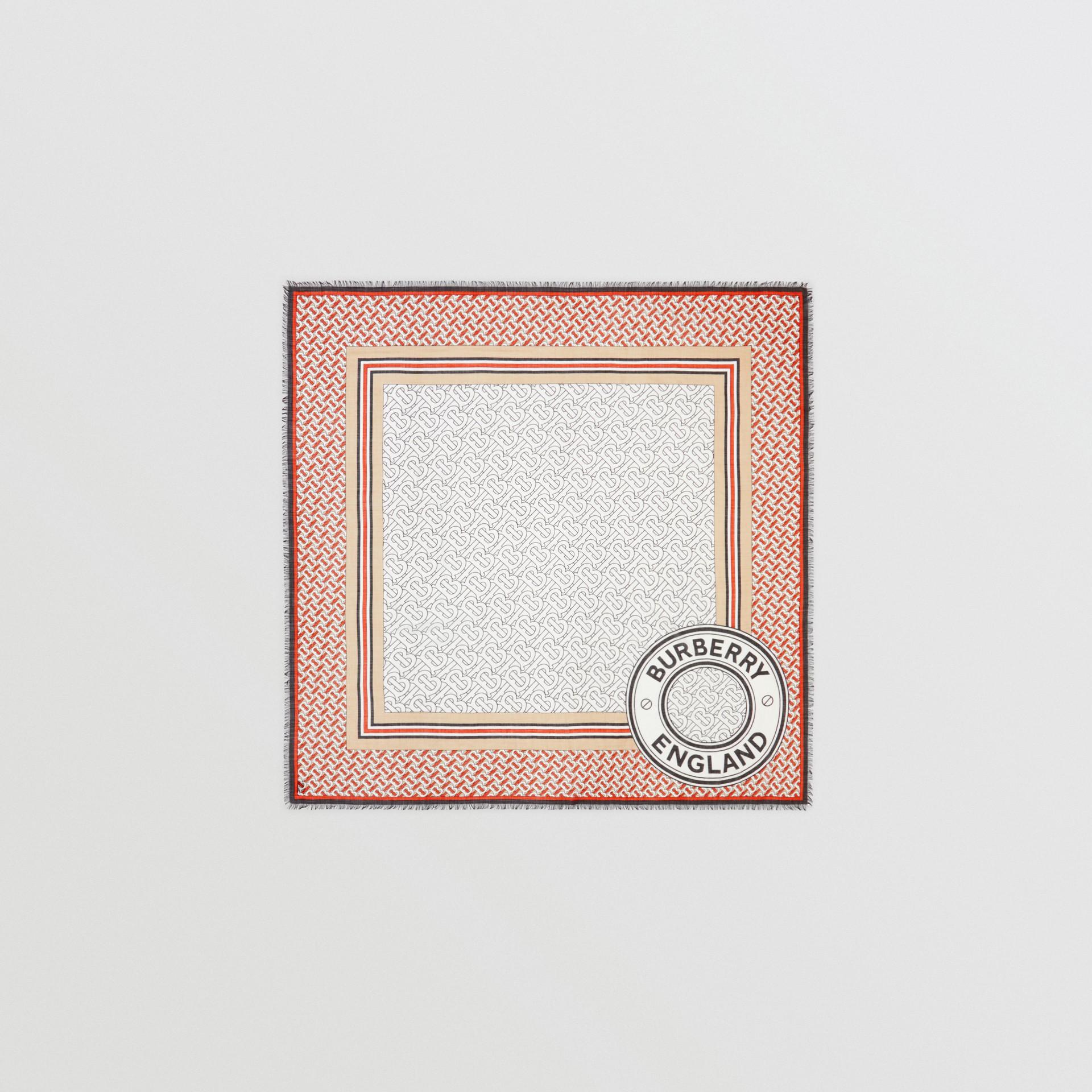 Monogram Print Wool Silk Large Square Scarf | Burberry United Kingdom - gallery image 0