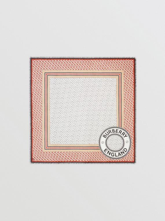 モノグラムプリント ウールシルク ラージ スクエアスカーフ