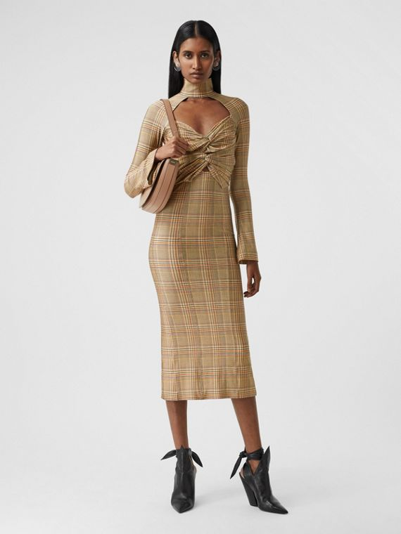 Cut-out Check Stretch Jersey Dress in Dark Honey