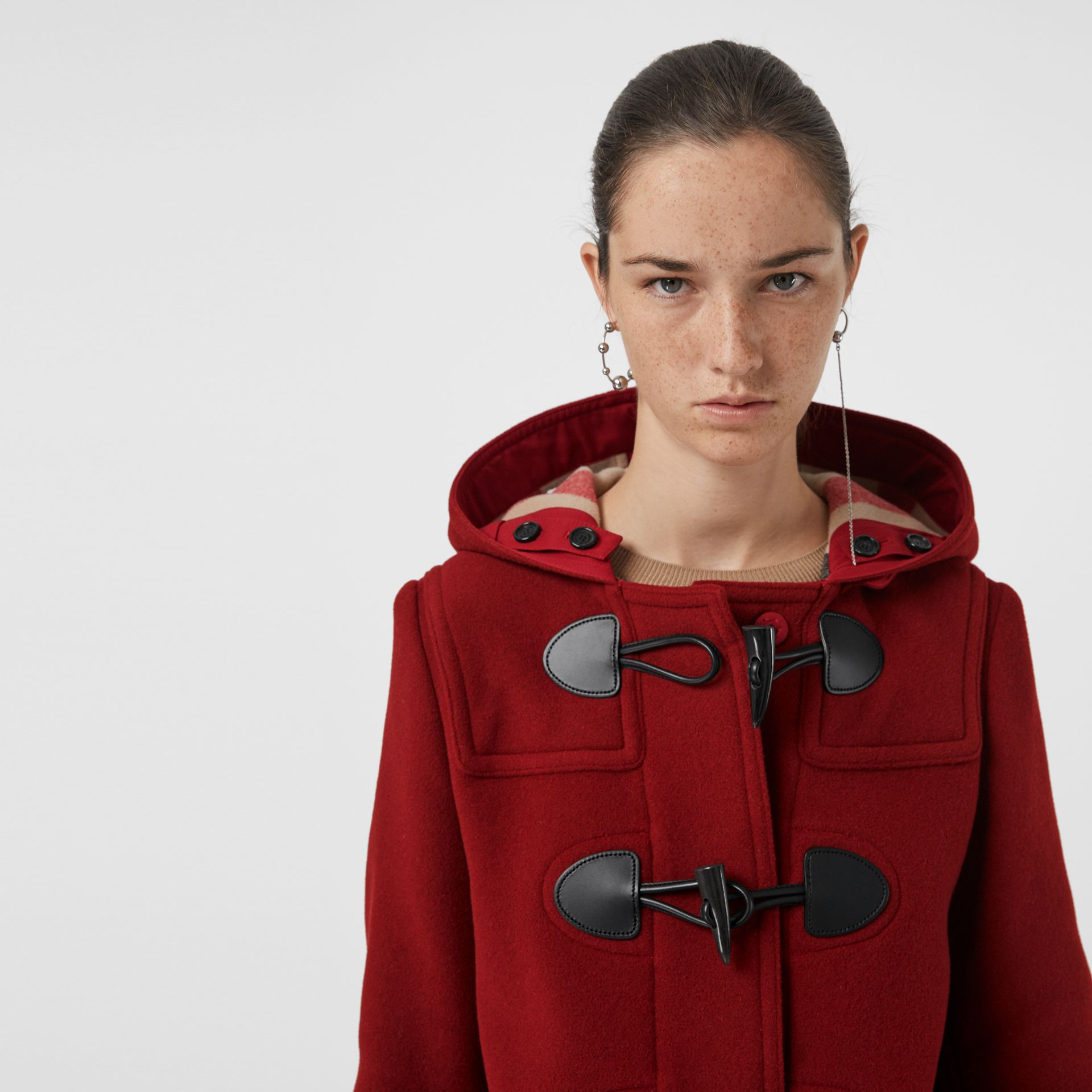 The Mersey Duffle Coat in Parade Red - Women | Burberry Canada - gallery image 1