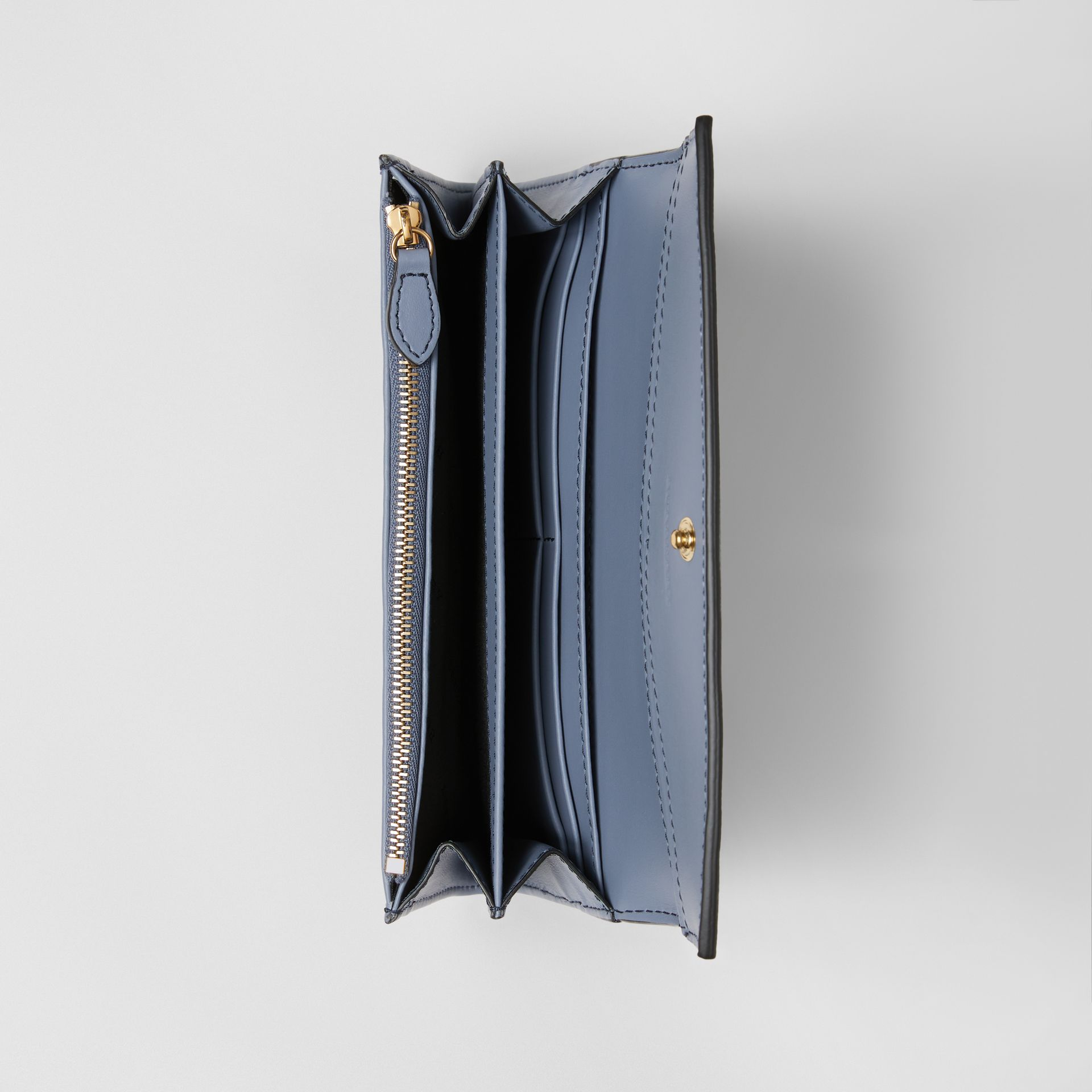 House Check and Leather Continental Wallet in Slate Blue - Women | Burberry - gallery image 3