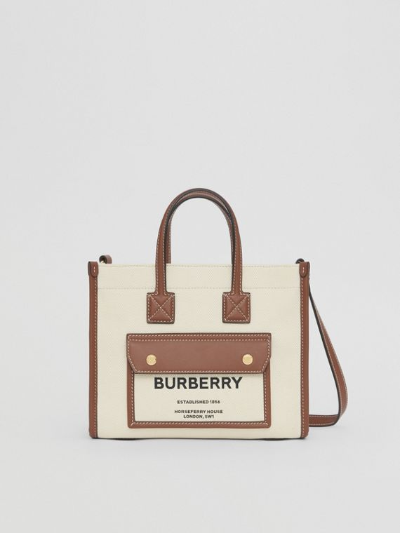 Mini Two-tone Canvas and Leather Freya Bag – Online Pre-launch in Natural/tan