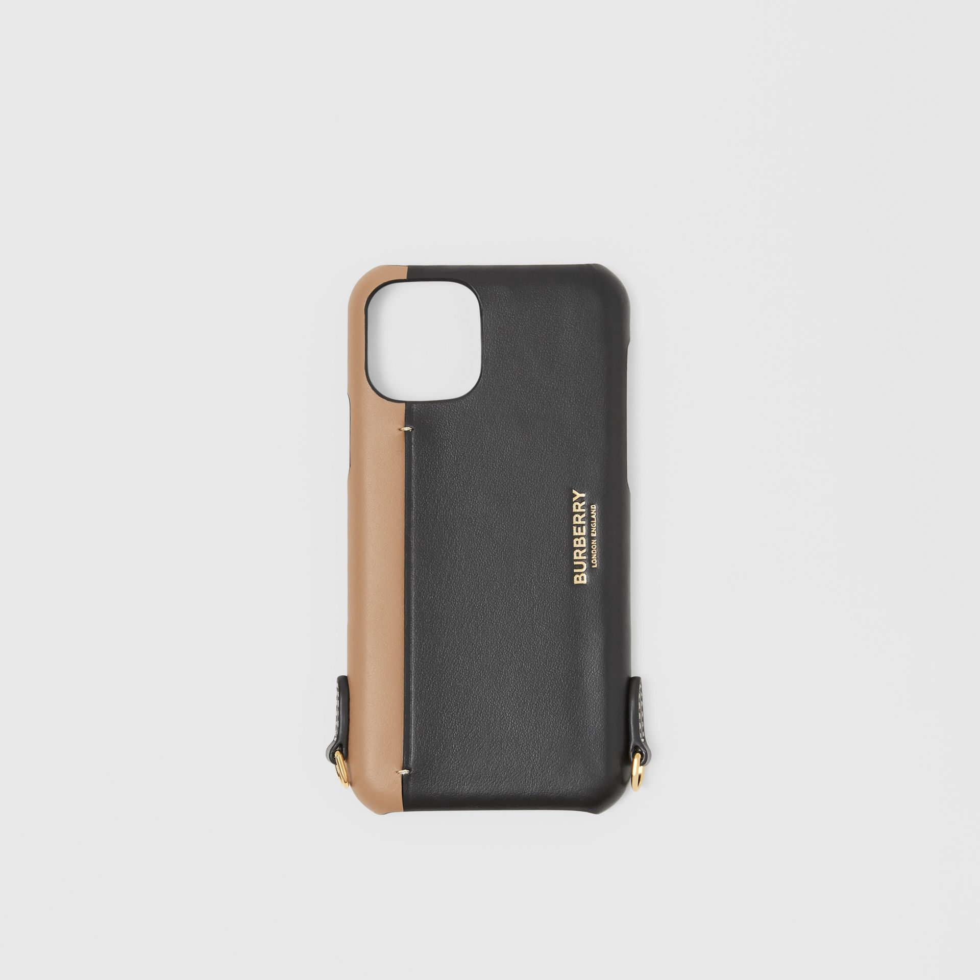 Two-tone Leather iPhone 11 Pro Case Lanyard in Black/camel | Burberry - gallery image 2