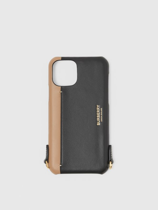 Two-tone Leather iPhone 11 Pro Case Lanyard in Black/camel | Burberry - cell image 2